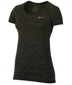 Футболка жен. Nike DF KNIT TOP SS dark-green